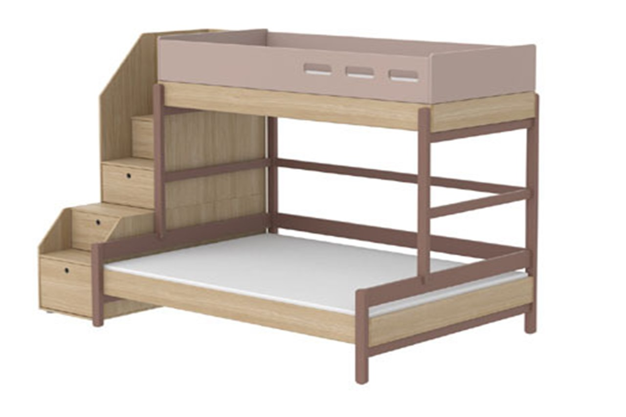 Bunk Bed Single Over Double Popsicle With Staircase And Storage