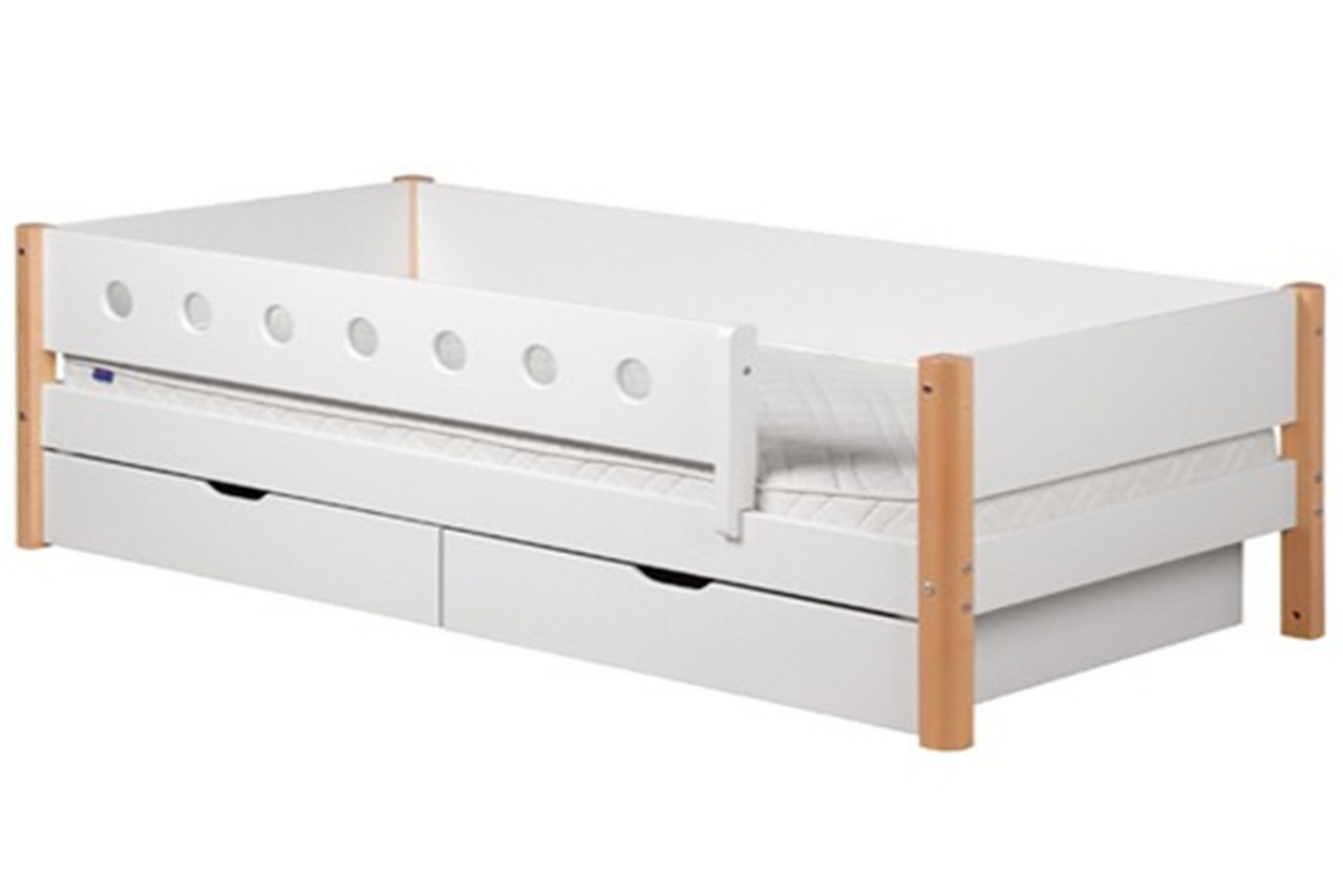 Single bed   White with rails and drawers