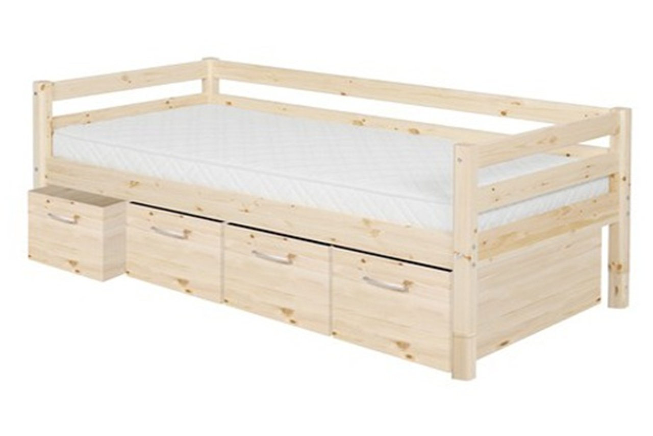 Single bed classic with 4 deep drawers clear for Single bed with drawers and mattress