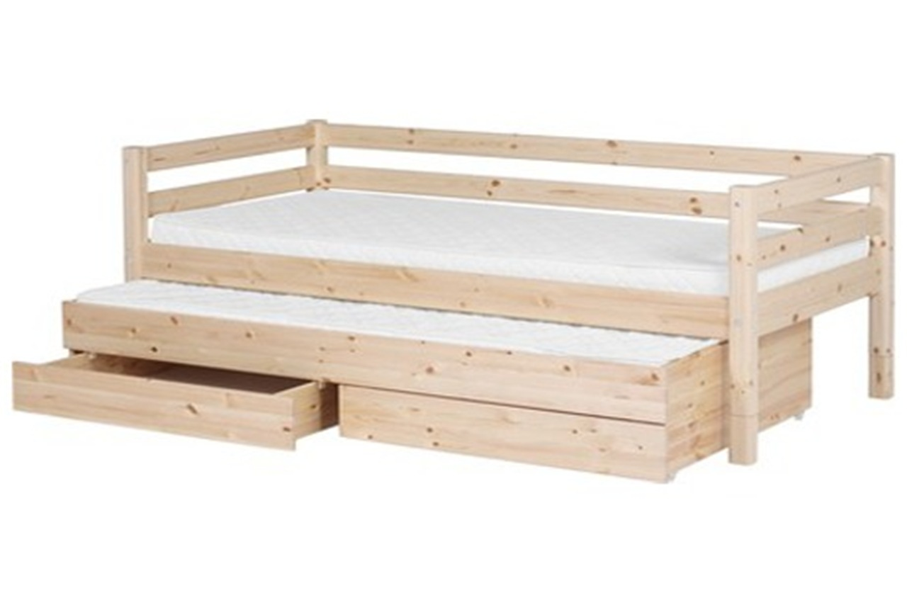 Single bed classic with trundle bed and drawers clear for Single bed with drawers and mattress