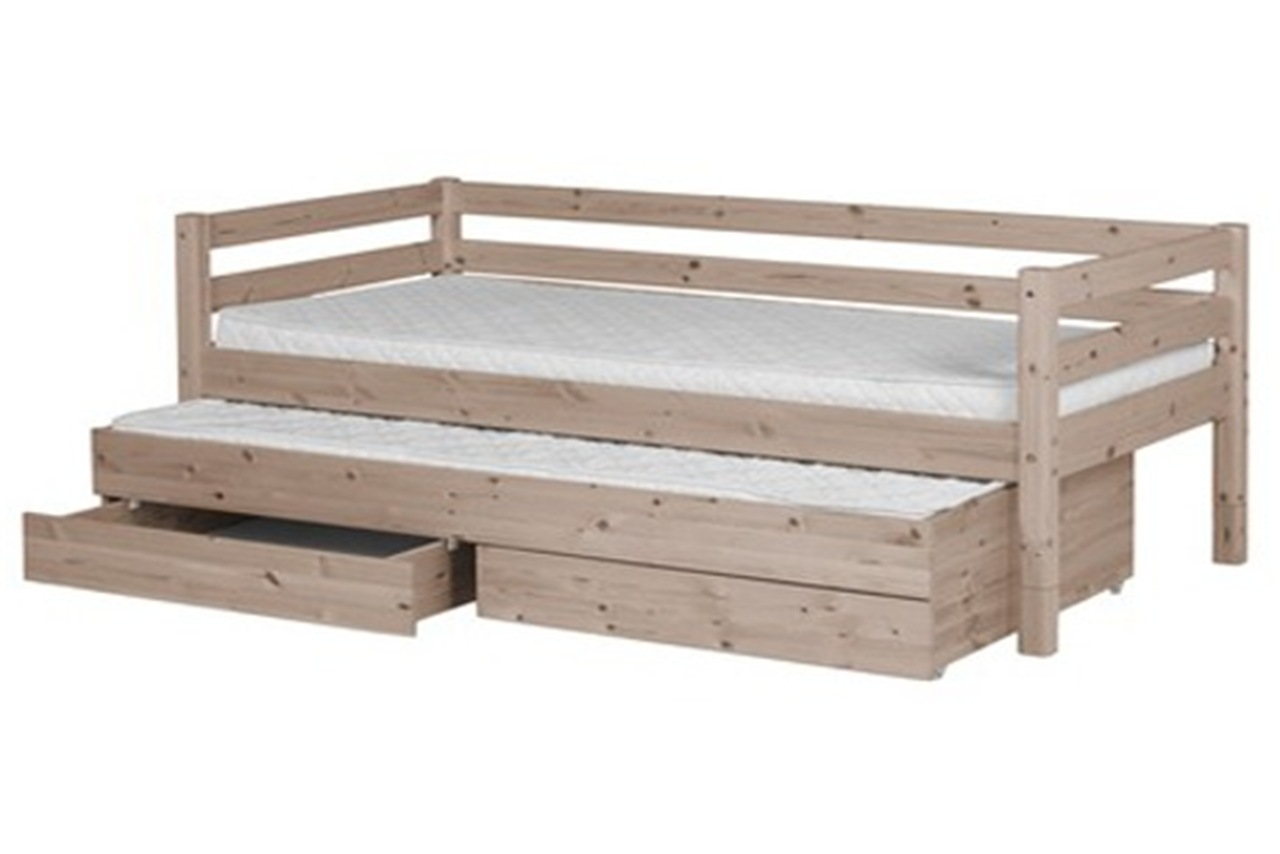 Single bed classic with trundle bed and drawers terra for Single bed with drawers and mattress