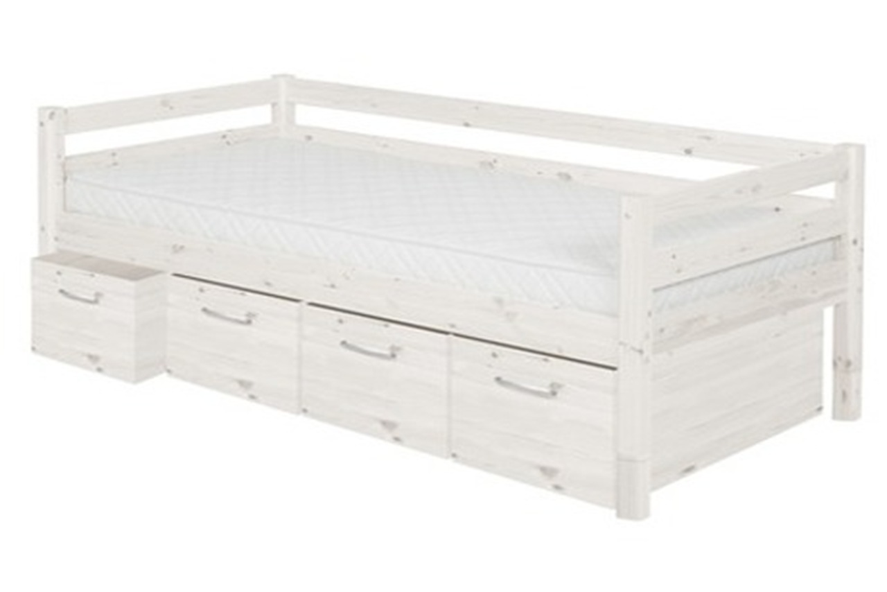Single bed classic with 4 deep drawers whitewash for Single bed with drawers and mattress