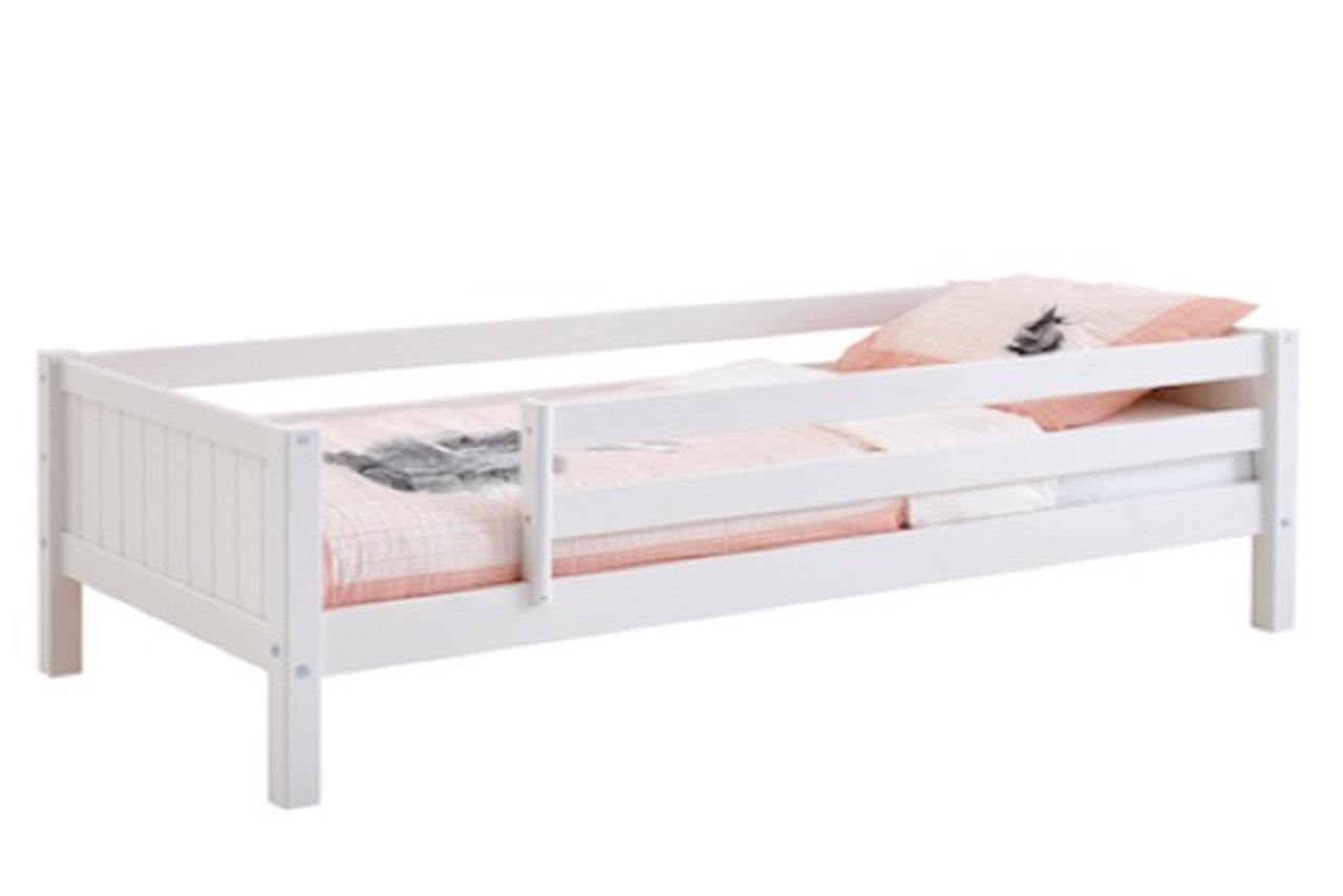 Single Bed Nordic Full White With Safety Rails